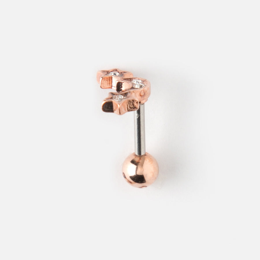 Star & Moon Crystal Piercing Stud - Rose Gold