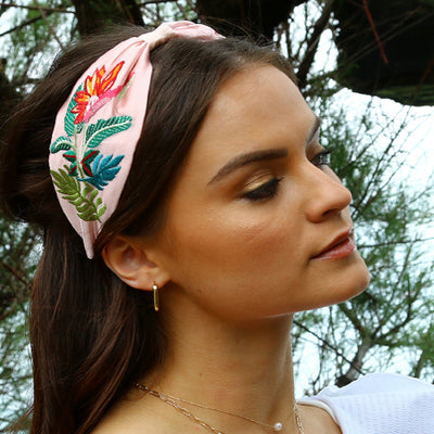 Floral Embroidered Turban Headband - Blush
