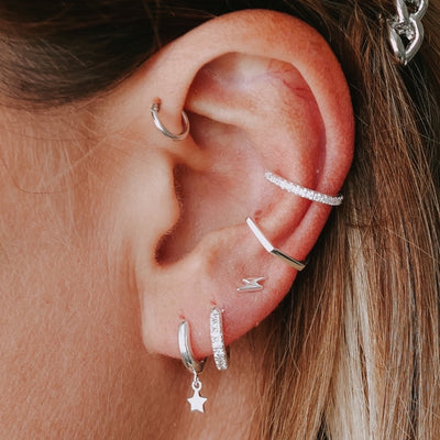 Lightning & Star Ear Party - Silver