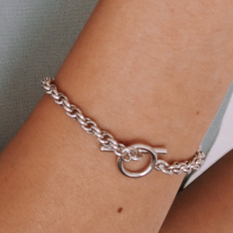 Chunky Rope T-Bar Bracelet - Silver
