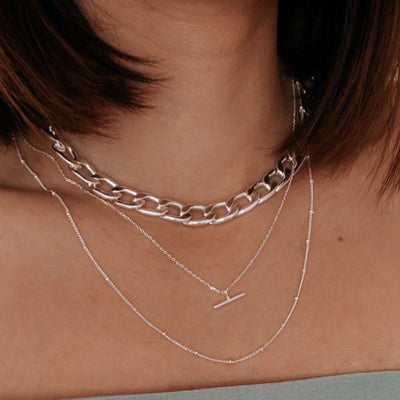 T-Bar Ditsy Charm Necklace - Silver