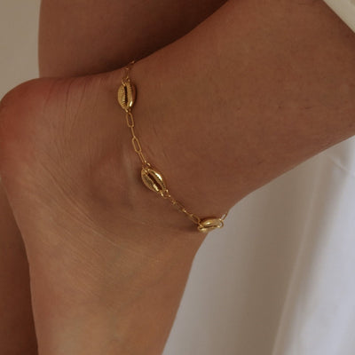 Cowrie Shell & Chain Anklet - Gold