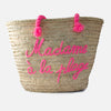 Madame a La Plage Embroidered Basket Bag - Large