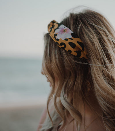 Leopard & Floral Turban Headband - Yellow