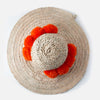 Straw hat with pom poms - orange