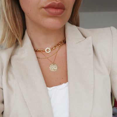 Chunky Hexagon T-Bar Necklace
