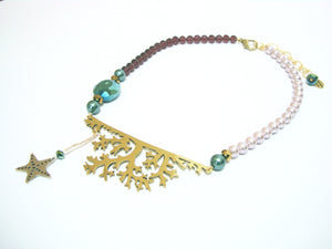 Pearl Sea World Coral Gold Necklace