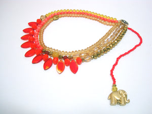 Signature Beaded Fiery Elephant Necklace - Riddhika Jesrani