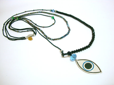 Layered Black Evil Eye Necklace