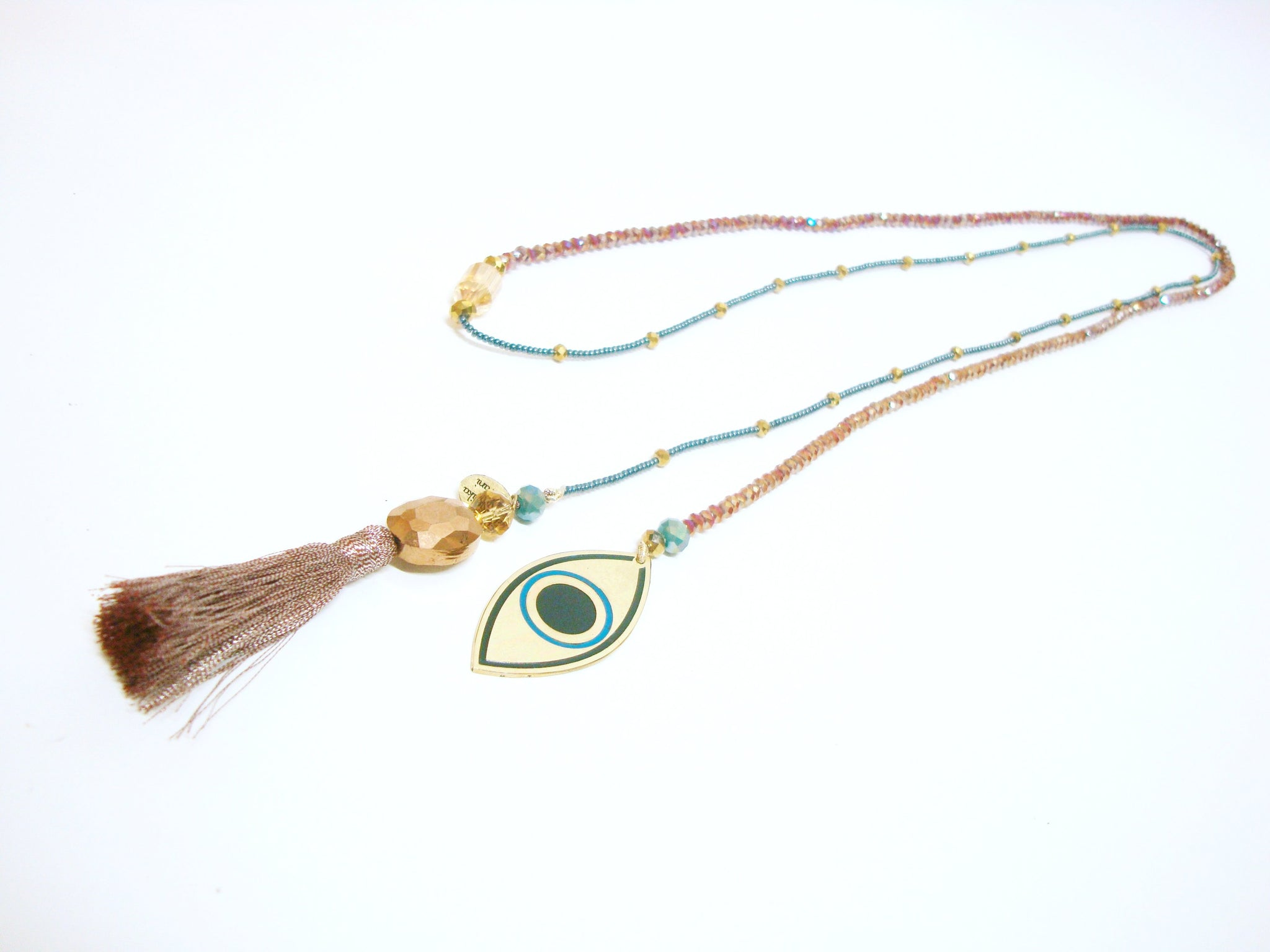 Open long One Strand Evil Eye Necklace