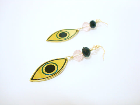 Evil Eye Bead Pink Drop Earrings