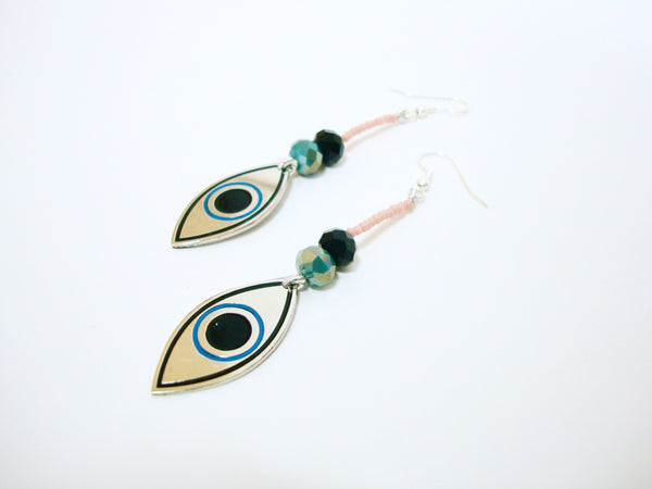 Evil Eye Pink Drop Earrings
