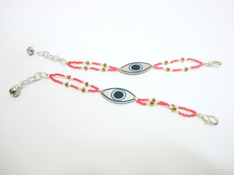 Metallic Red Evil Eye Bracelet