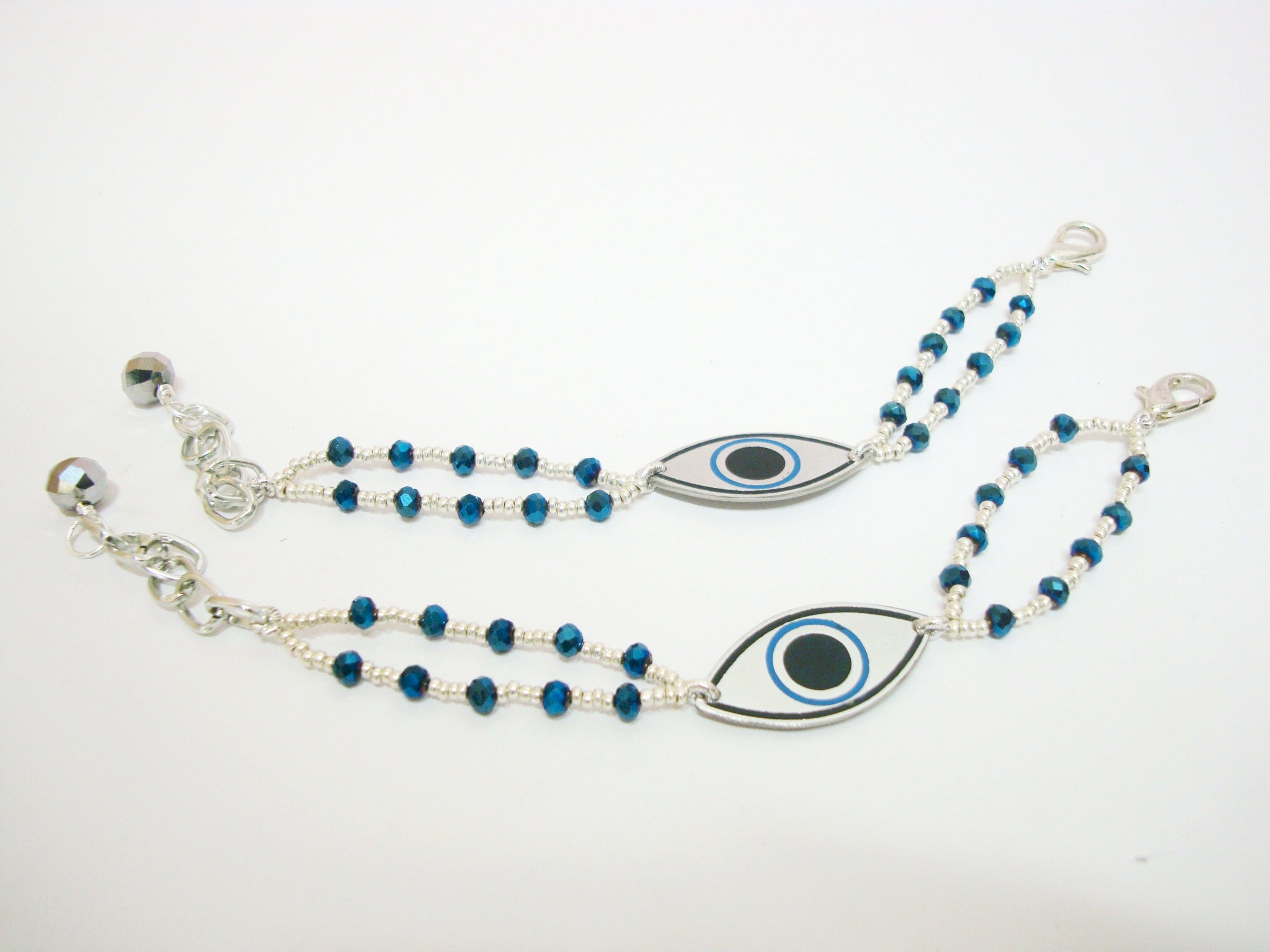 Metallic Blue and Silver Evil Eye Bracelet