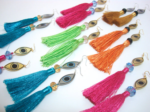 Evil Eye Maroon Tassel Earrings
