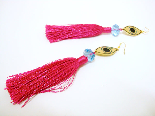 Evil Eye Pink Tassel Earrings