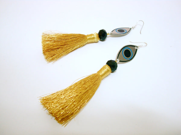 Evil Eye Gold Tassel Earrings