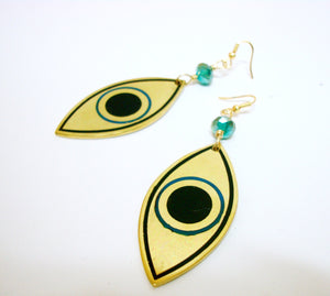 Big Gold Evil Eye Earrings