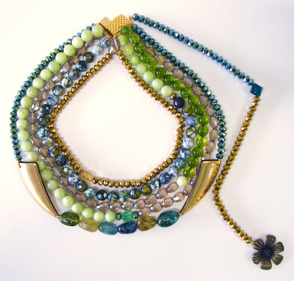 Statement Beaded Green Forest Necklace