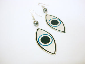 Big Silver Evil Eye Earrings