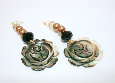 Mother Of Pearl Flower Earrings