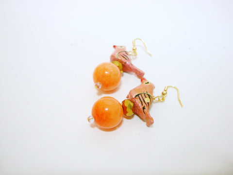 Pink Birdie Earrings