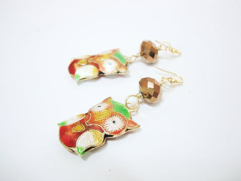 Orange Owl Earrings