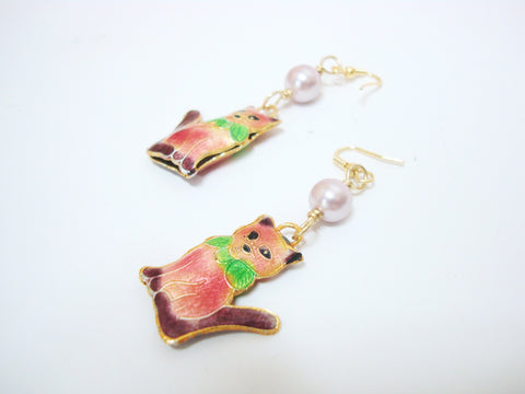 Pink Kitty Cat Earrings