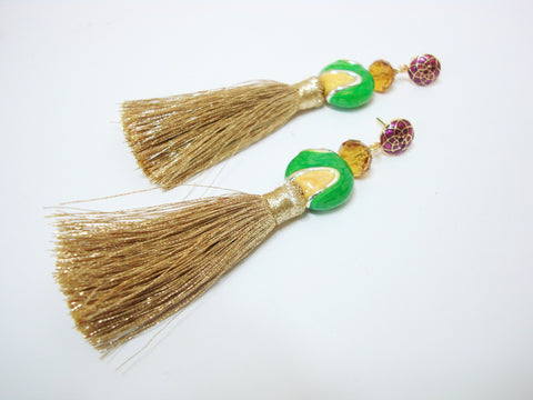Green and Gold Tassel Party Earrings