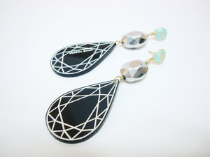 Black Acrylic Drop Earrings