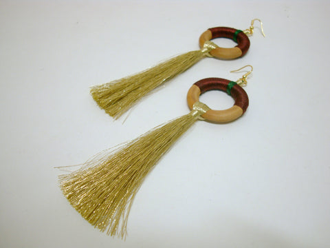 Fun Maroon Tassel Earrings