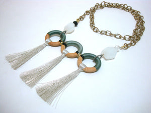 Grey Three Loop Tassel Chain - Riddhika Jesrani