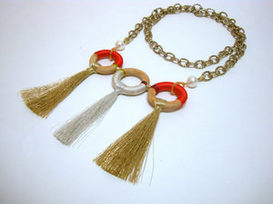 Orange Three Loop Tassel Chain