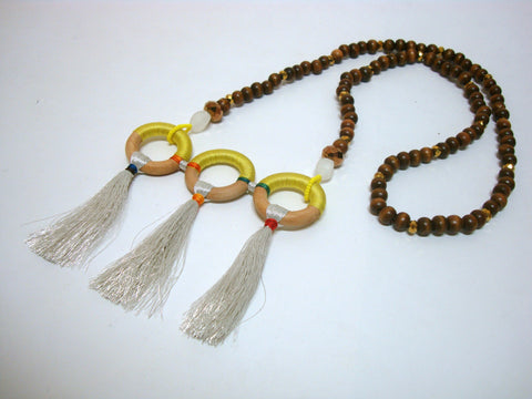 Three Loop and Tassel Summer Necklace