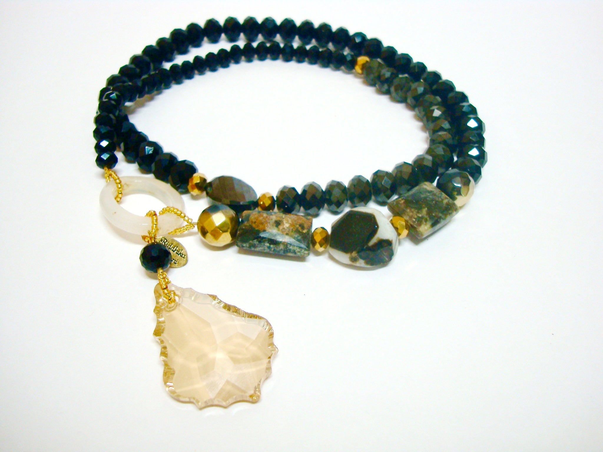 Signature Beaded Pitch Black Necklace - Riddhika Jesrani