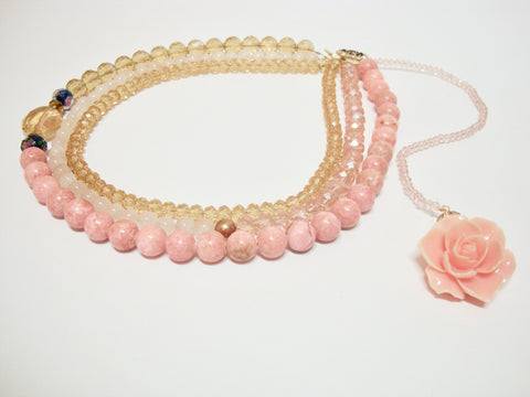 Signature Beaded Millennial Pink Rose Necklace - Riddhika Jesrani