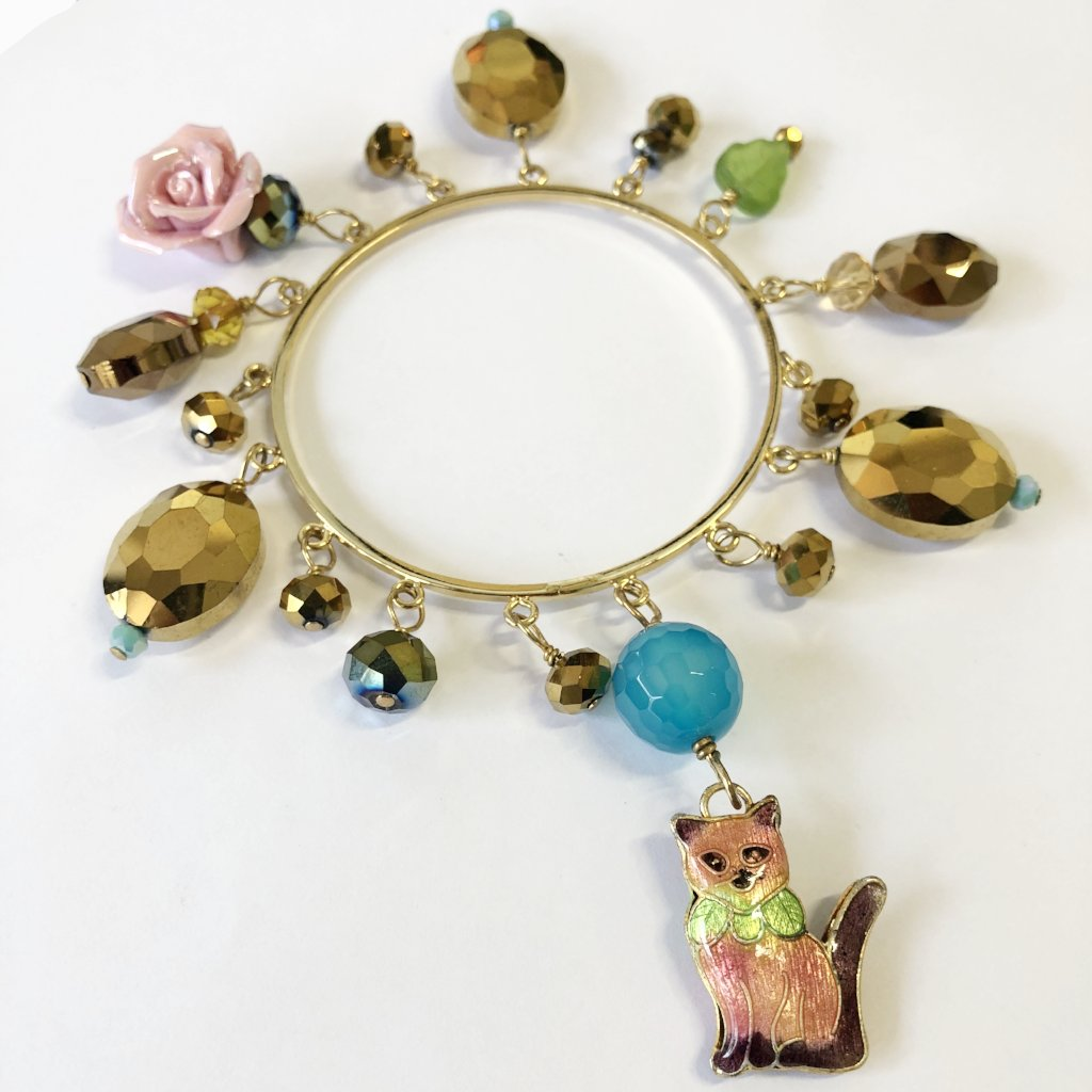 Charm Bangle with Cat
