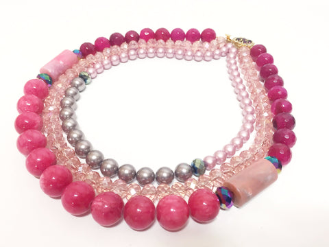 Statement Flintstone Pink Beaded Necklace