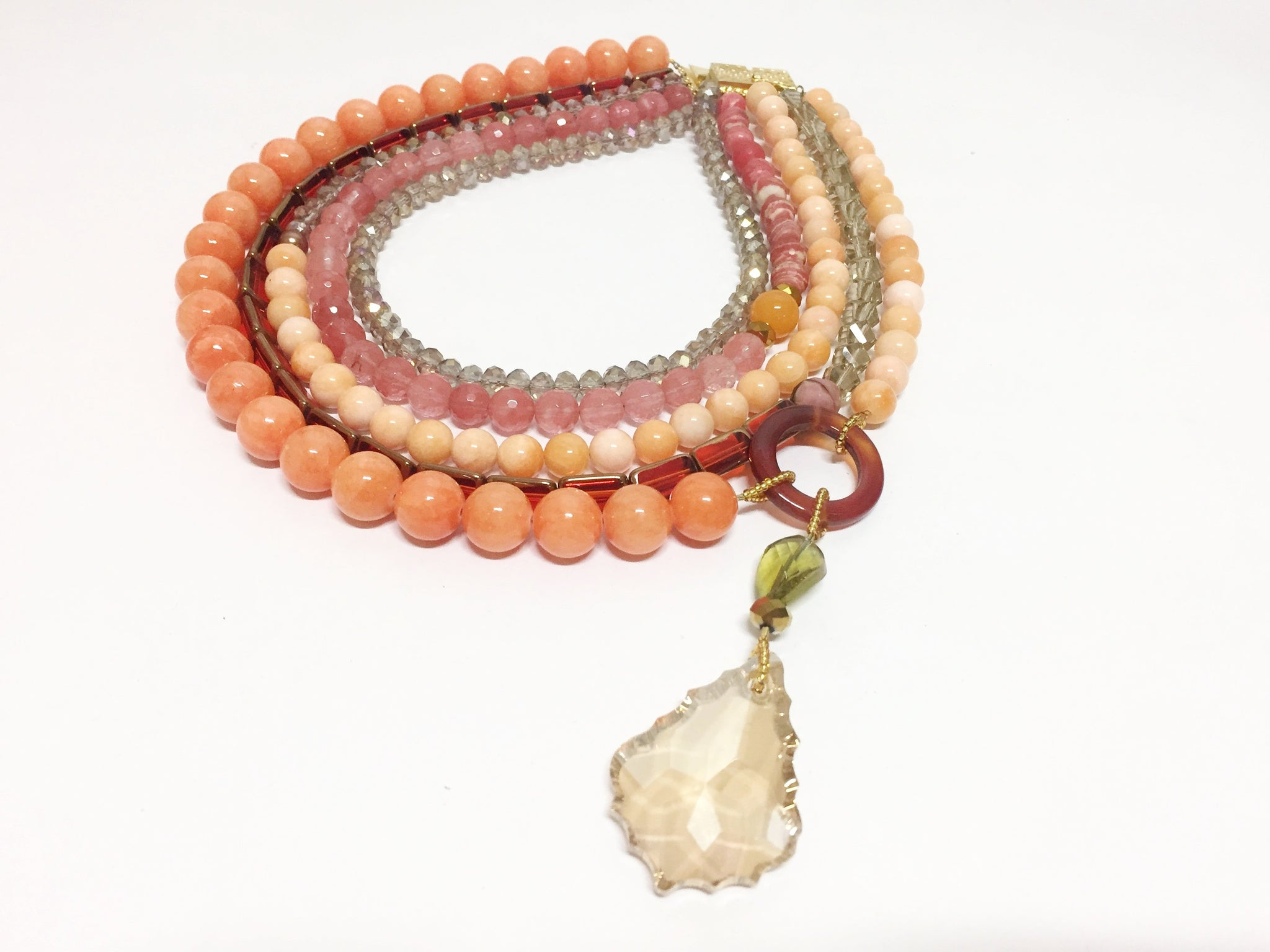 Statement Orange Day Beaded Necklace