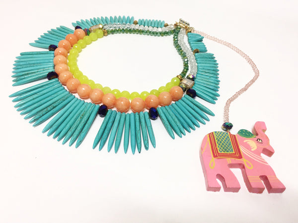 Signature Beaded Statement Elephant Necklace
