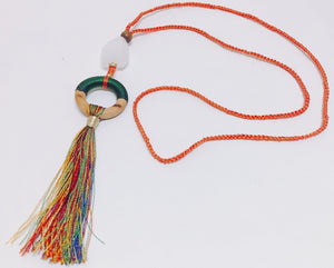 Summer Fun Orange Tassel Necklace