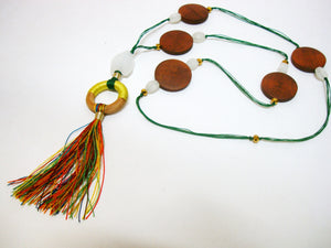 Thread over Thread Green Tassel Mala - Riddhika Jesrani