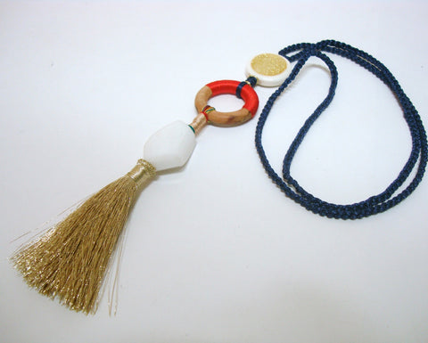 Summer Fun Blue Tassel Necklace
