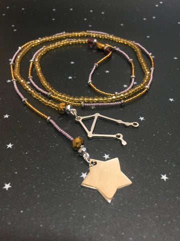 Long Open 'LIBRA' Necklace with star - Riddhika Jesrani