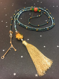 Long Open 'CANCER' Necklace with Tassel - Riddhika Jesrani