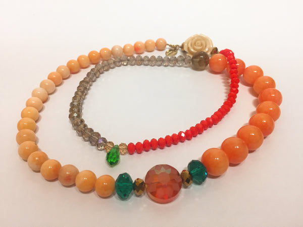Signature Beaded Summery Orange Necklace - Riddhika Jesrani