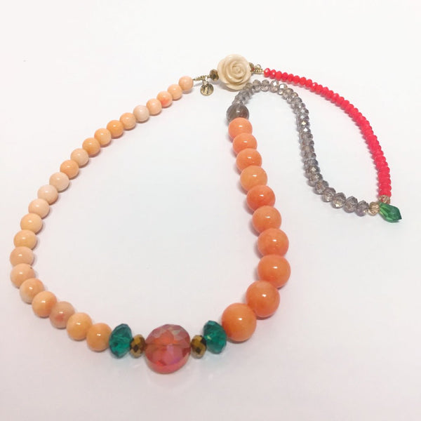Signature Beaded Summery Orange Necklace