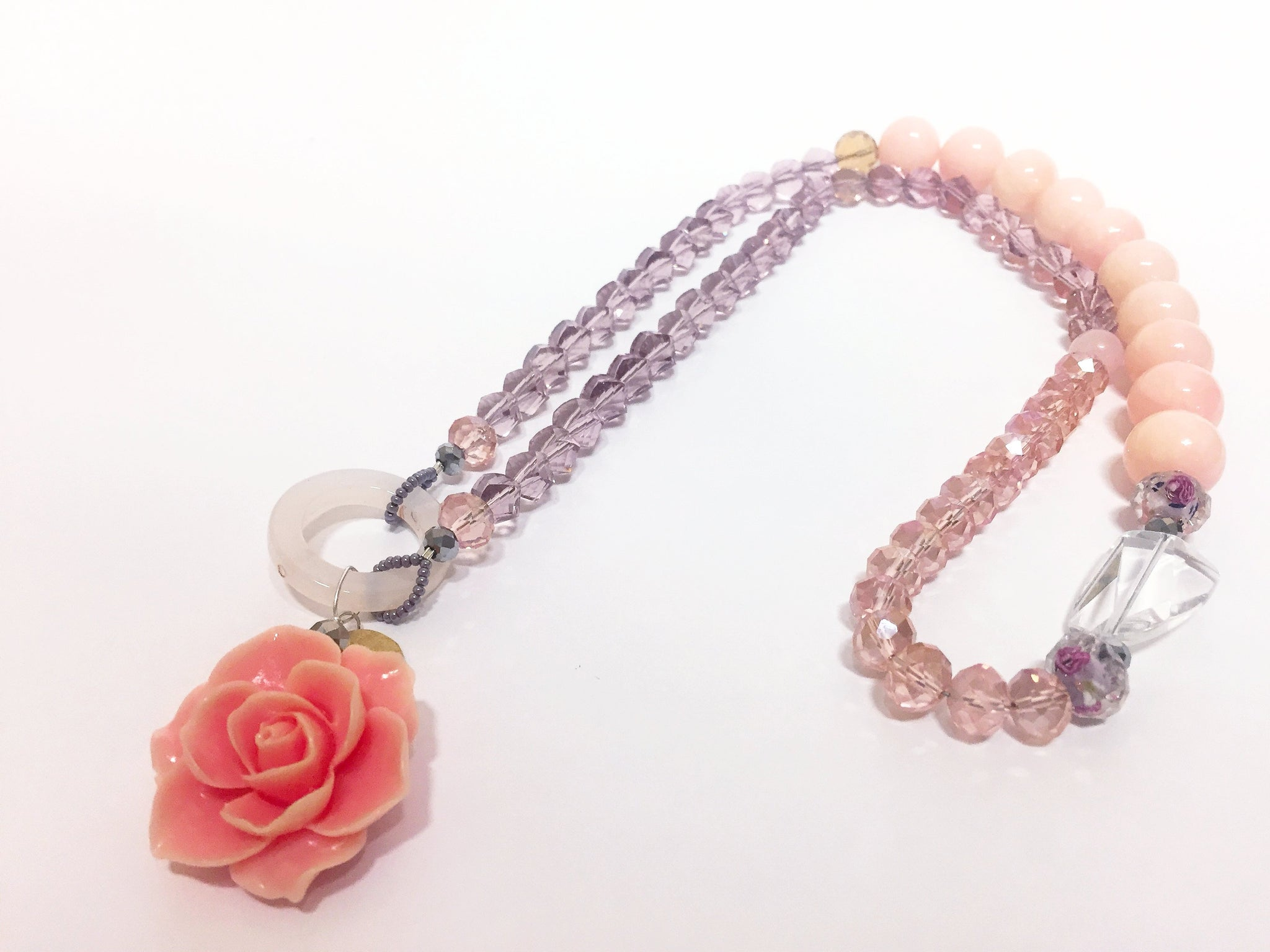 from sale floral necklace zoom crystal blush pink richard jon