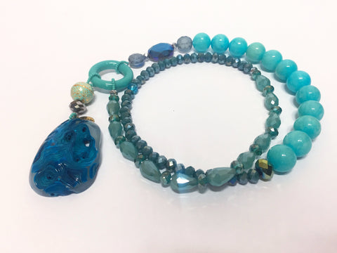 Signature Beaded Sea Blue Necklace - Riddhika Jesrani