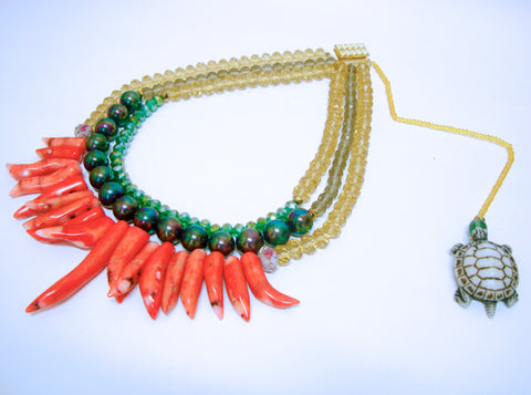 Signature Beaded Fiery Tortoise Necklace - Riddhika Jesrani